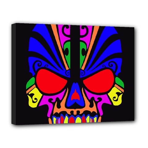 Skull In Colour Canvas 14  X 11  (framed)