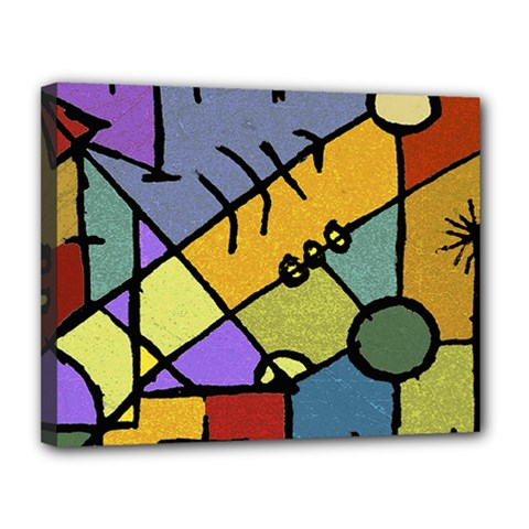 Multicolored Tribal Pattern Print Canvas 14  x 11  (Framed)