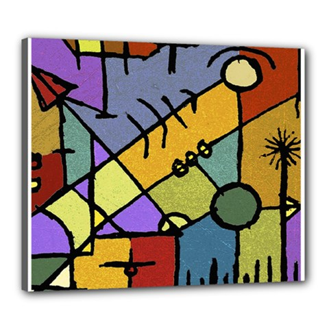 Multicolored Tribal Pattern Print Canvas 24  X 20  (framed)