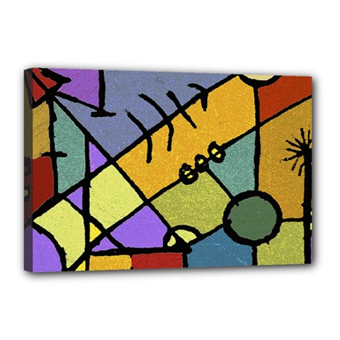 Multicolored Tribal Pattern Print Canvas 18  X 12  (framed)