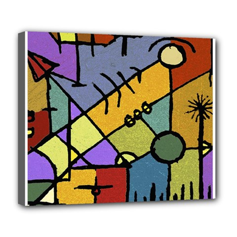 Multicolored Tribal Pattern Print Deluxe Canvas 24  X 20  (framed)
