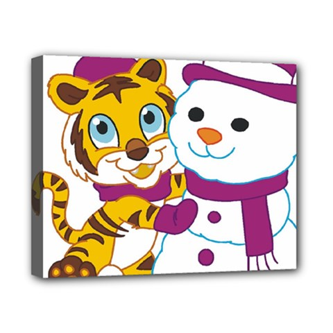Winter Time Zoo Friends   004 Canvas 10  X 8  (framed)
