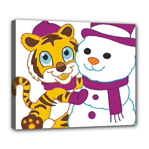 Winter Time Zoo Friends   004 Deluxe Canvas 24  X 20  (framed)