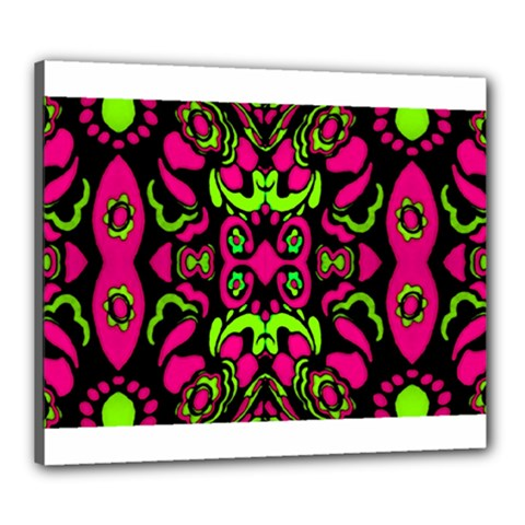 Psychedelic Retro Ornament Print Canvas 24  X 20  (framed)