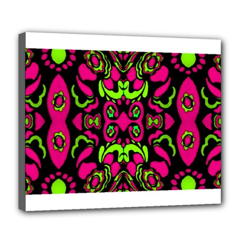 Psychedelic Retro Ornament Print Deluxe Canvas 24  x 20  (Framed)