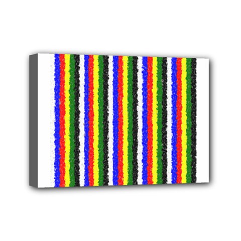 Basic Colors Curly Stripes Mini Canvas 7  x 5  (Framed)