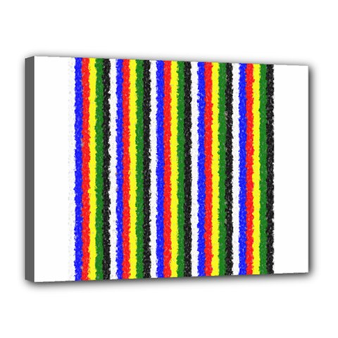 Basic Colors Curly Stripes Canvas 16  X 12  (framed)