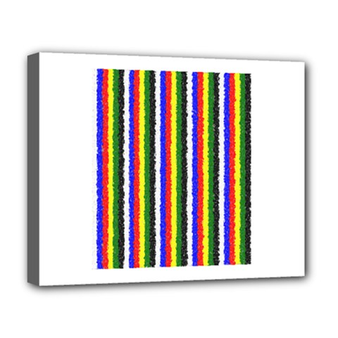 Basic Colors Curly Stripes Deluxe Canvas 20  X 16  (framed)