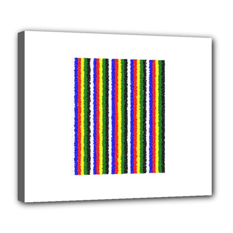 Basic Colors Curly Stripes Deluxe Canvas 24  x 20  (Framed)