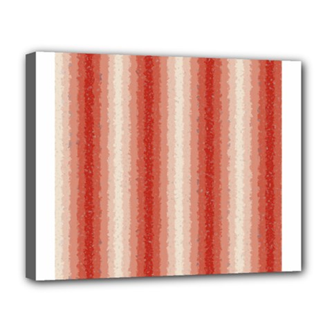 Red Curly Stripes Canvas 14  X 11  (framed)