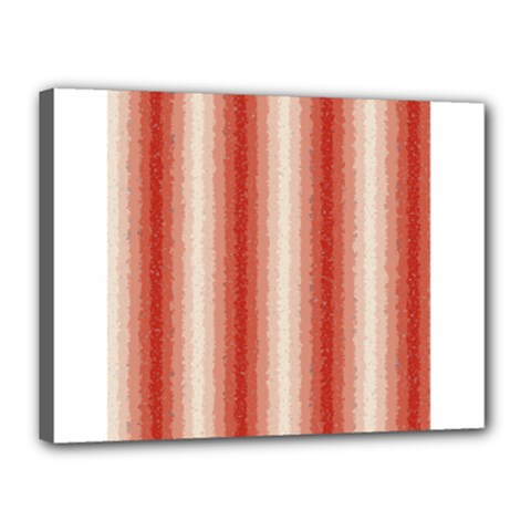 Red Curly Stripes Canvas 16  x 12  (Framed)