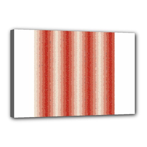 Red Curly Stripes Canvas 18  X 12  (framed)