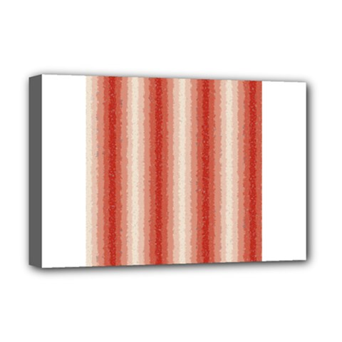 Red Curly Stripes Deluxe Canvas 18  x 12  (Framed)