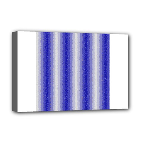 Dark Blue Curly Stripes Deluxe Canvas 18  X 12  (framed)