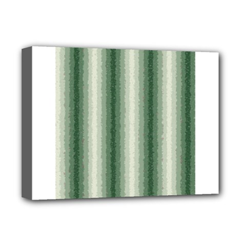 Dark Green Curly Stripes Deluxe Canvas 16  X 12  (framed)