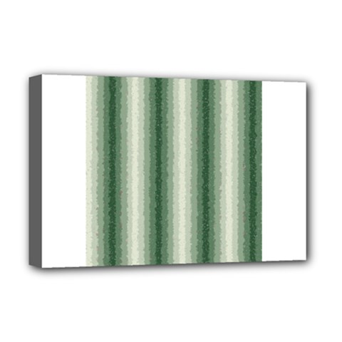 Dark Green Curly Stripes Deluxe Canvas 18  X 12  (framed)