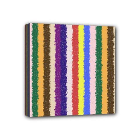 Vivid Colors Curly Stripes   1 Mini Canvas 4  X 4  (framed)