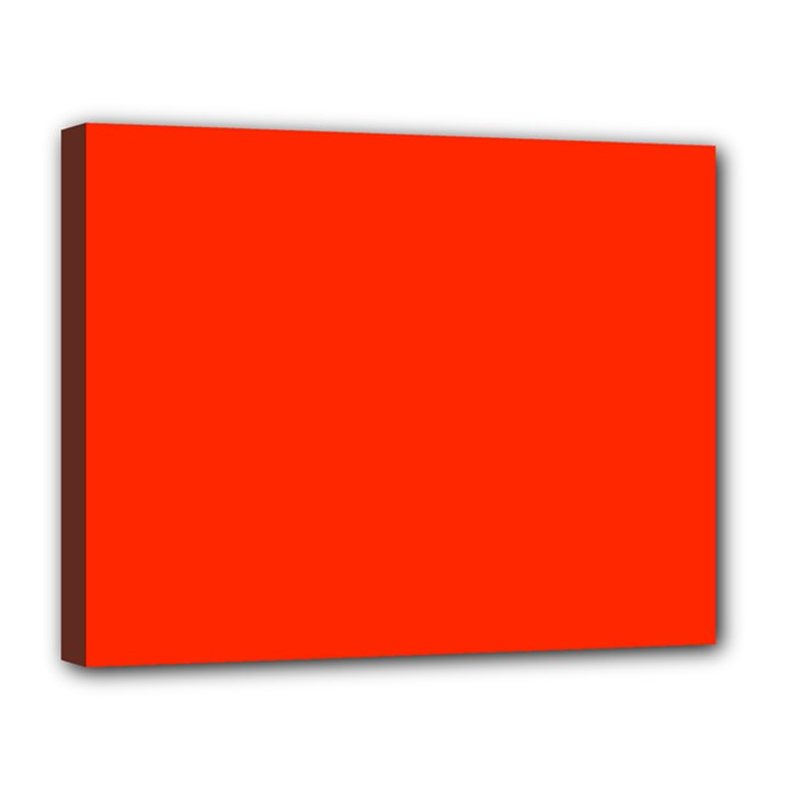 Bright Red Canvas 14  x 11  (Framed)