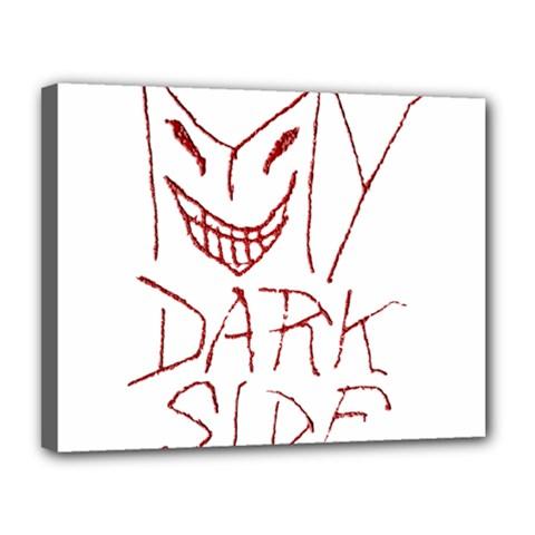 My Dark Side Typographic Design Canvas 14  x 11  (Framed)