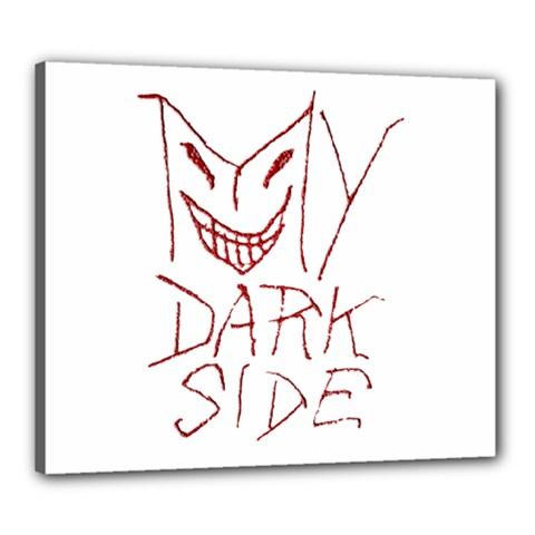 My Dark Side Typographic Design Canvas 24  X 20  (framed)