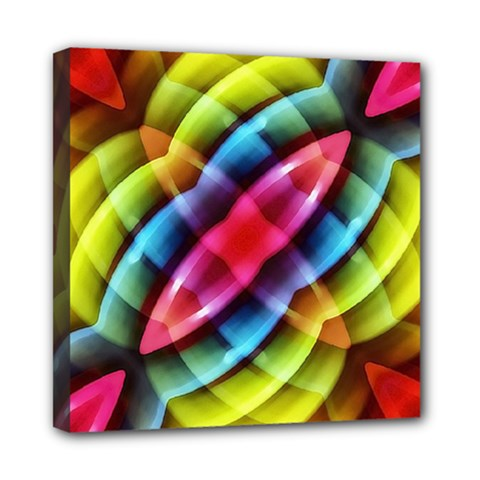 Multicolored Abstract Pattern Print Mini Canvas 8  X 8  (framed)