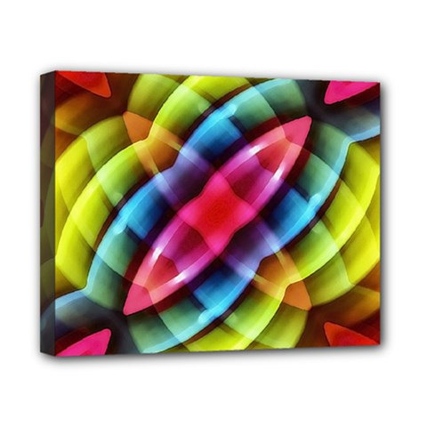 Multicolored Abstract Pattern Print Canvas 10  x 8  (Framed)