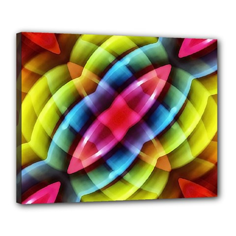 Multicolored Abstract Pattern Print Canvas 20  x 16  (Framed)