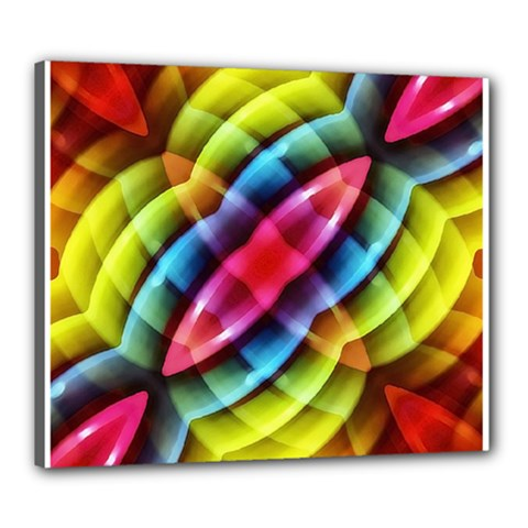 Multicolored Abstract Pattern Print Canvas 24  X 20  (framed)