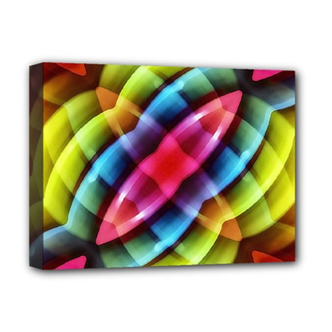 Multicolored Abstract Pattern Print Deluxe Canvas 16  X 12  (framed)