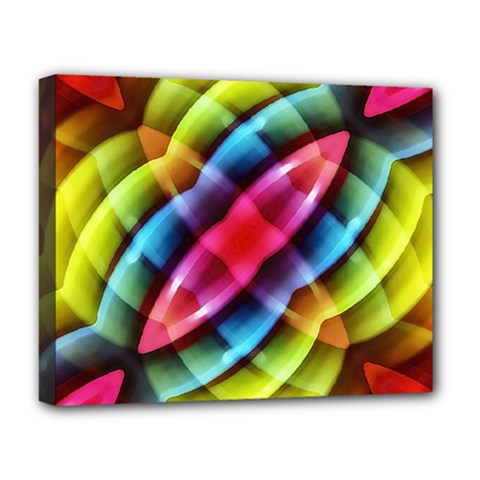 Multicolored Abstract Pattern Print Deluxe Canvas 20  X 16  (framed)