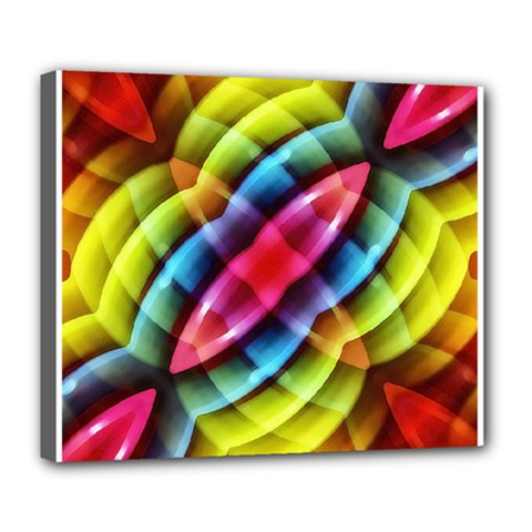 Multicolored Abstract Pattern Print Deluxe Canvas 24  x 20  (Framed)