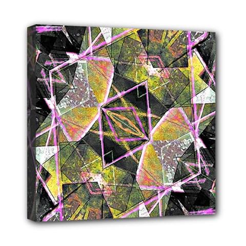 Geometric Grunge Pattern Print Mini Canvas 8  X 8  (framed)