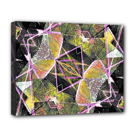 Geometric Grunge Pattern Print Deluxe Canvas 20  X 16  (framed)