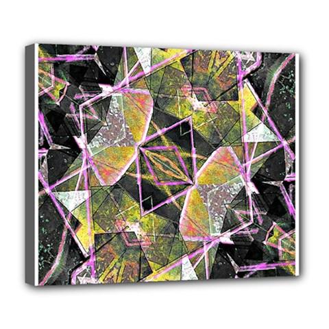 Geometric Grunge Pattern Print Deluxe Canvas 24  x 20  (Framed)