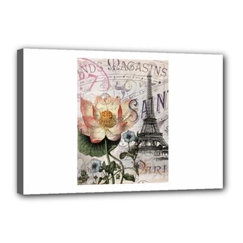 Vintage Paris Eiffel Tower Floral Canvas 18  X 12  (framed)