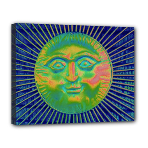 Sun Face Canvas 14  X 11  (framed)