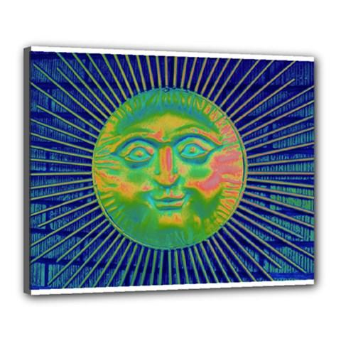 Sun Face Canvas 20  x 16  (Framed)