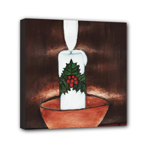 Candle And Mistletoe Mini Canvas 6  X 6  (framed)