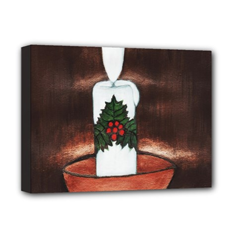 CANDLE AND MISTLETOE Deluxe Canvas 16  x 12  (Framed)
