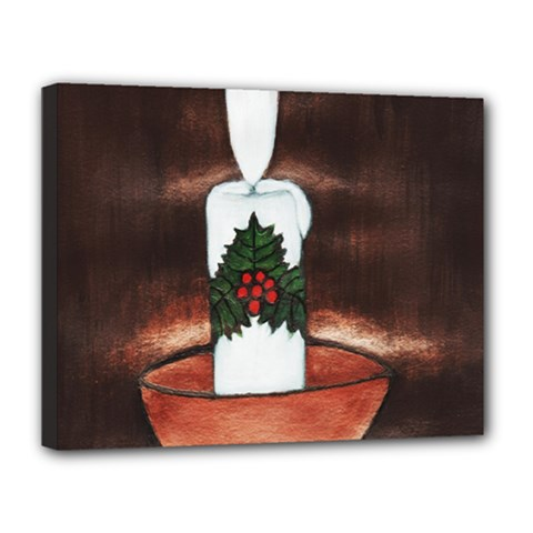 CANDLE AND MISTLETOE Canvas 14  x 11  (Framed)