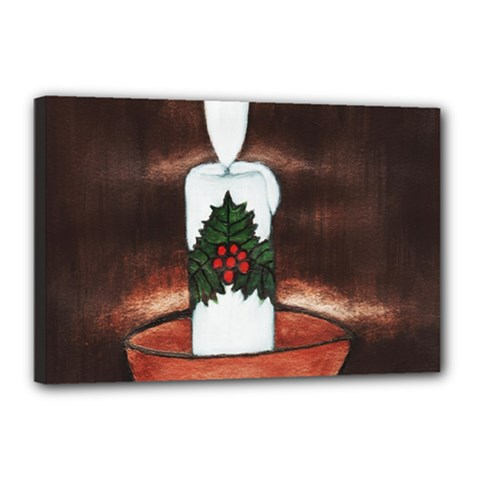 Candle And Mistletoe Canvas 18  X 12  (framed)