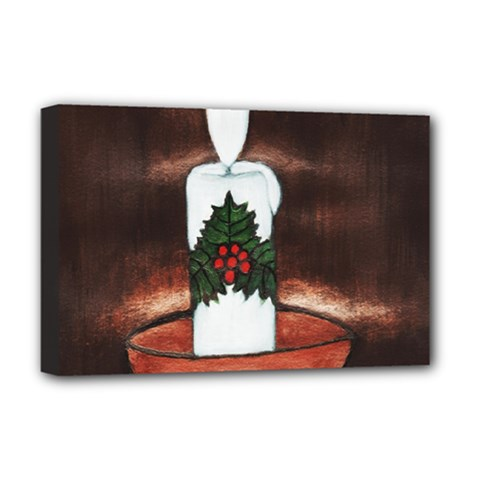 CANDLE AND MISTLETOE Deluxe Canvas 18  x 12  (Framed)
