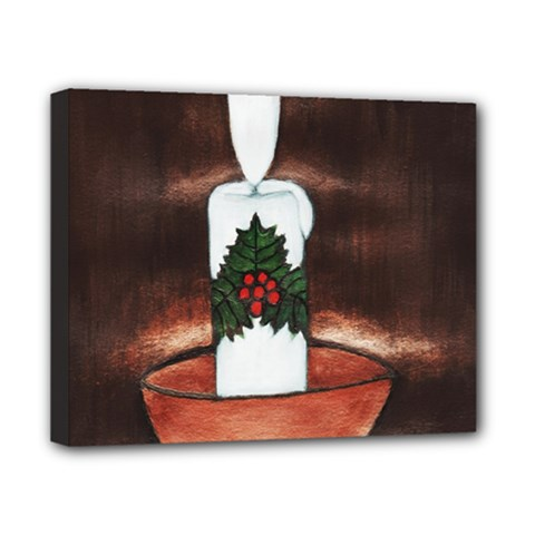 Candle And Mistletoe Canvas 10  X 8  (framed)