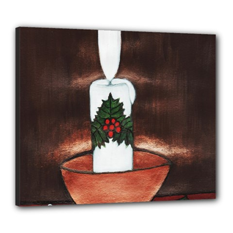 CANDLE AND MISTLETOE Canvas 24  x 20  (Framed)