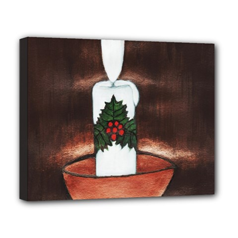 CANDLE AND MISTLETOE Deluxe Canvas 20  x 16  (Framed)