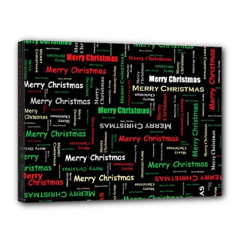 Merry Christmas Typography Art Canvas 16  x 12  (Framed)