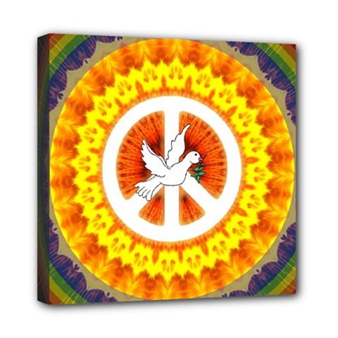 Psychedelic Peace Dove Mandala Mini Canvas 8  X 8  (framed)