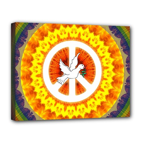 Psychedelic Peace Dove Mandala Canvas 14  x 11  (Framed)