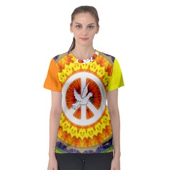 Psychedelic Peace Dove Mandala All Over Print Sport T Shirt (women)
