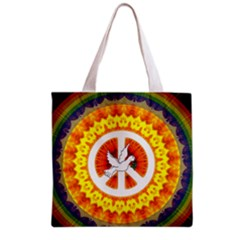 Psychedelic Peace Dove Mandala All Over Print Grocery Tote Bag